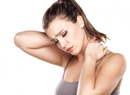 Woman with painful neck