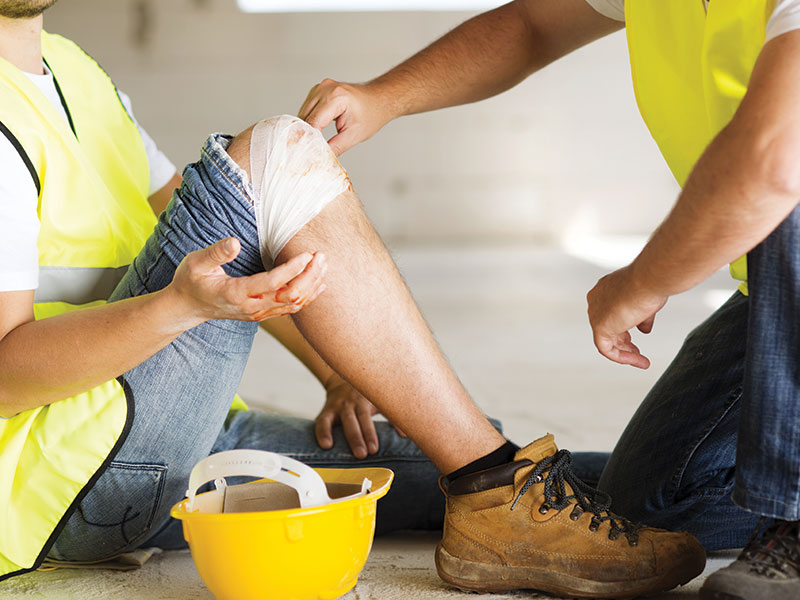 trade person injured on the knee